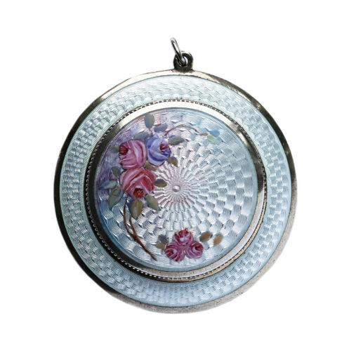 1915 FBE Geneve guilloche & 925 silver gilt miniature powder compact. Diameter 4.2cm/1.75in.