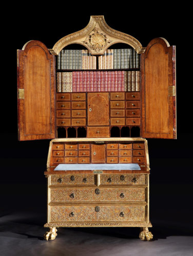A George I Gilt-Gesso Secretaire Cabinet, attributed to James Moore