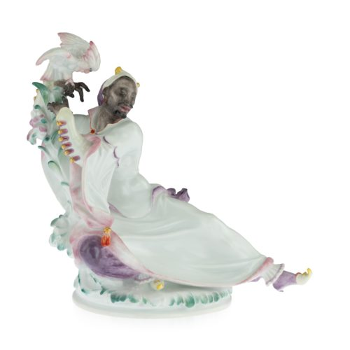A Meissen Art Deco Figure of an Arab man with cockatoo, circa 1924