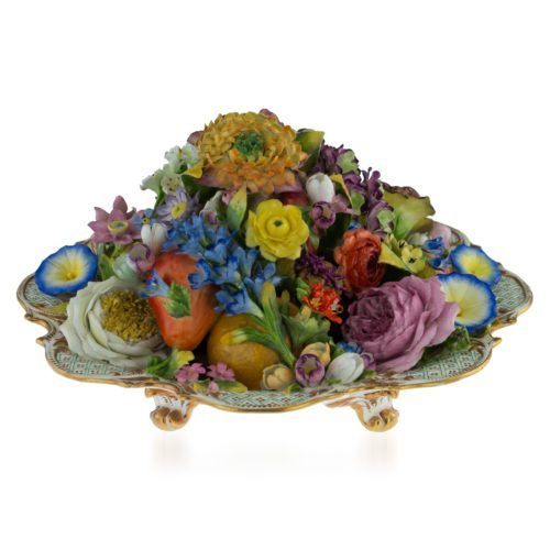 A Minton trompe l'oeil dish of fruits and flowers, circa 1830