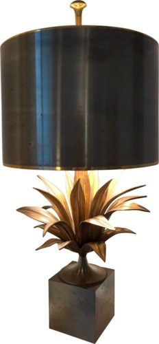 Pair of bronze Maison Charles Agave lamps designed by Jacques Charles in the 1960s