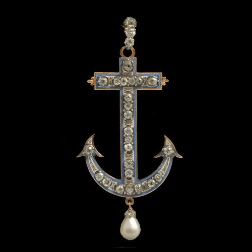 Double-side old enamel, diamond and pearl Victorian anchor pendant, c.1870
