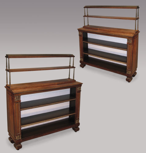 A fine quality pair of early 19th Century Regency period Rosewood Open Bookshelves