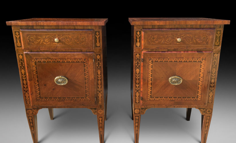 A pair of late 18th century marquetry commodini in the manner of Giuseppe Maggiolini.
