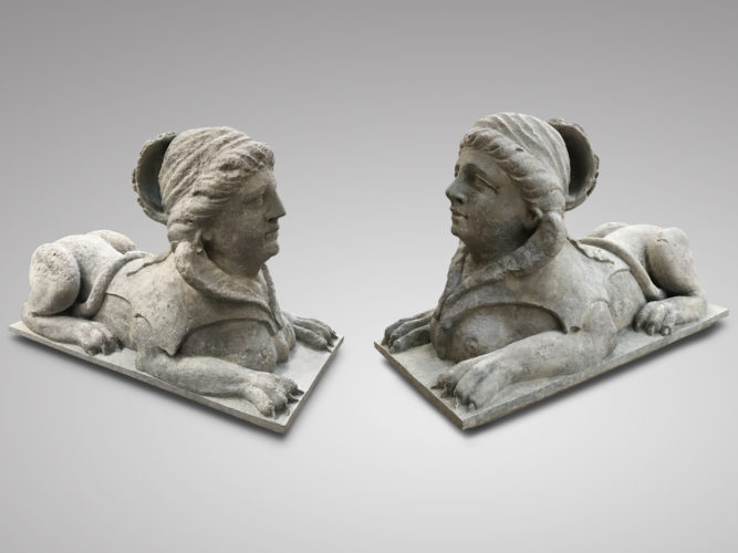 A rare pair of carved stone sphinx, Italy c.1800
