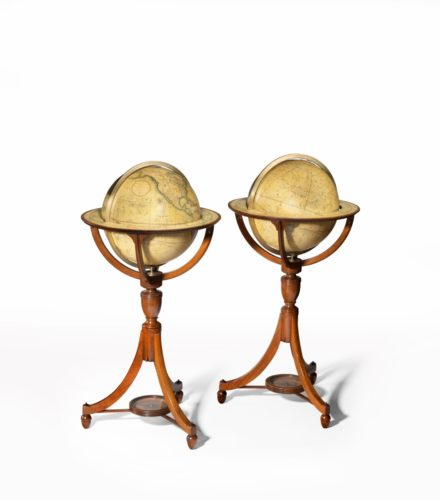 A pair of George III Cary's 12 inch floor globes, 1800