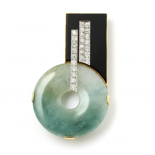 Art Deco jade, brilliant cut diamond and onyx clip brooch set in 18ct yellow gold made in Austria circa 1930