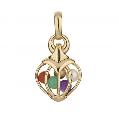 A highly unusual and charming 18ct yellow gold heart shaped 'cage' pendant containing a pearl, coral, amethyst, chrysoprase and gold bead signed by Bvlgari