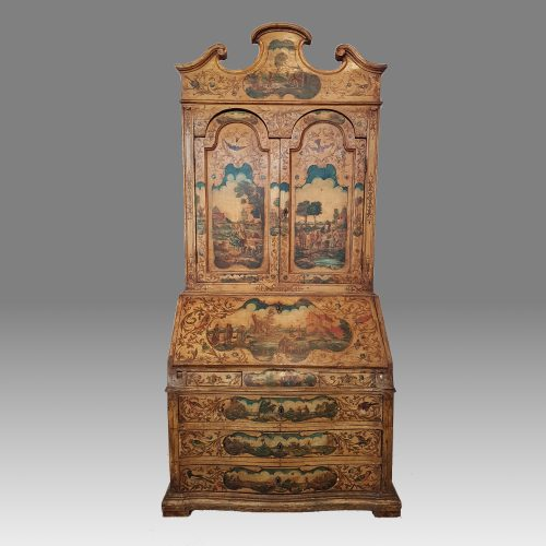 Late 19th century Italian painted bureau bookcase