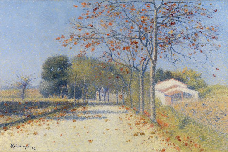 "ACHILLE LAUGÉ (French, 1861-1944) ""Automne, route de Cailhau"" Signed and dated, lower left: A. Laugé/16 Oil on canvas 18⅞ x 28¾ in – 48 x 73 cm Framed size 24¾ x 34 in – 62.8 x 86.3 cm Provenance: Collection of Augustin Isnard circa 1930; Thence by descent"