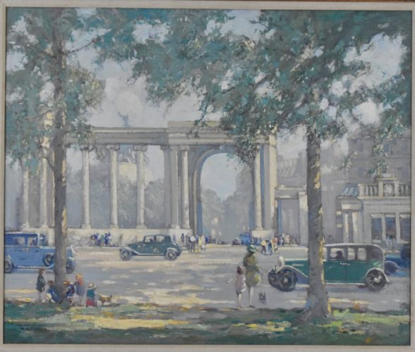 Augustus William Enness (British 1876-1948) Oil on canvas signed A. W. Enness London – Hyde Park looking across South Carriage Drive with Wellington Arch in the distance.