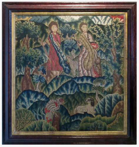 An 18th century English needlework picture, worked in silk and wool in gros and petit point. Framed, 2'6½