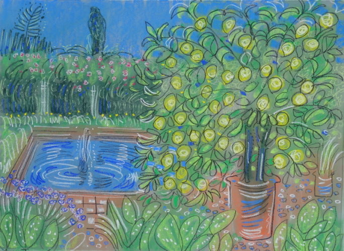Alan Halliday, Lemon tree in the citrus garden, Villa Oasis, Marrakesh, pastel on paper, 55cm x 75cm