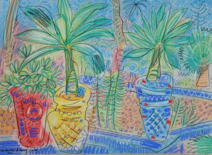 Alan Halliday, Pots in the Jardin Majorelle, Marrakesh, pastel on paper, 55cm x 75cm