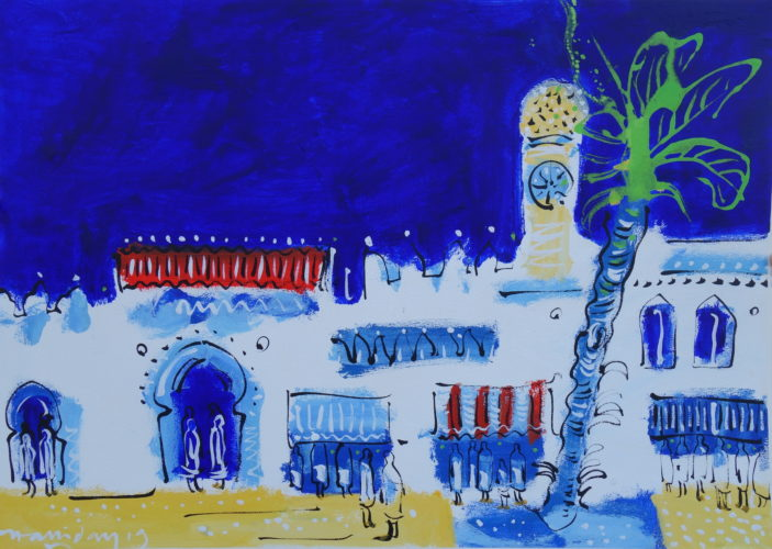 Alan Halliday, The Souk, Tangier, acrylic on paper, 75cm x 105cm.