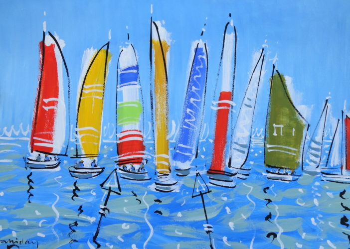Alan Halliday, Yachts at Cowes, acrylic on paper, 75cm x 105cm.