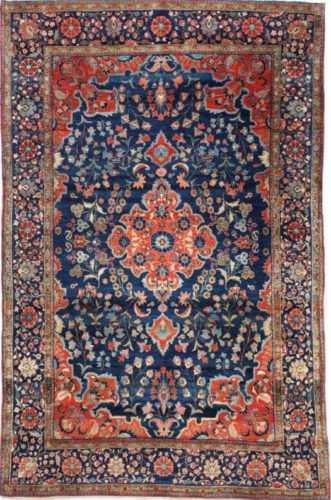 Antique Kurk Kashan rug, Persian, circa 1900 - 208 x 130 cm