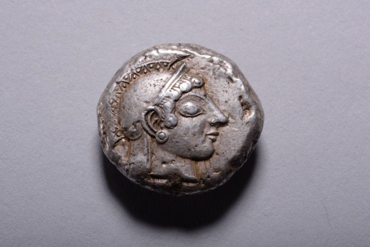 A silver tetradrachm from Athens, dating to the time of the Persian Wars, circa 490 - 480 BC.