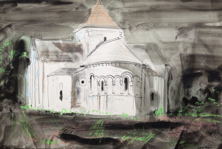JOHN PIPER CH LG (1903 – 92) 'The Church of St Denis, Lichees'. Watercolour, gouache ink, crayon, and wax resist. Signed.