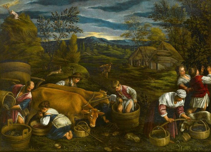 FRANCESCO BASSANO II (BASSANO 1549 - VENICE 1592) Autumn, with Moses Receiving the Ten Commandments oil on canvas 78 x 103 cm (30¾ x 40½ in)