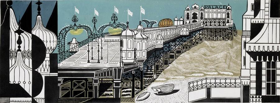 Edward Bawden Brighton Pier Linocut; 55 x 147 cms; signed; ed 22/40