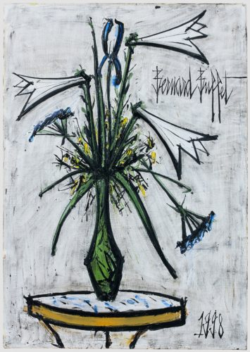 Bernard Buffet Lilies and Irises in a Galle Vase, signed top right, dated '1998' lower right and dedicated verso 'For Guibert and Eve, affectionately, Christmas 1998 Bernard Annabel oil on canvas 36 1/4 x 25 1/2