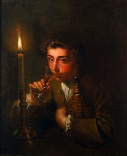 PHILIP MERCIER (1689-1760) Boy drinking wine by candlelight, c.1750 Oil painting on canvas 76.2 x 63.5 cm