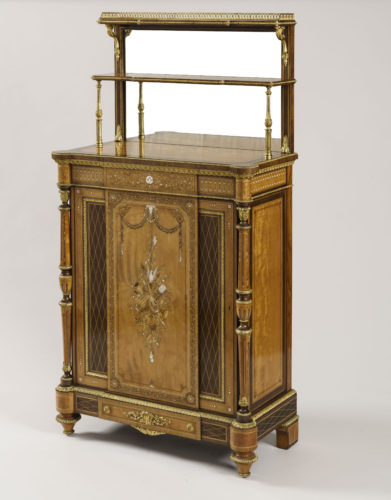 An Exhibition Quality Satinwood Marquetry Cabinet firmly attributed to Holland & Sons