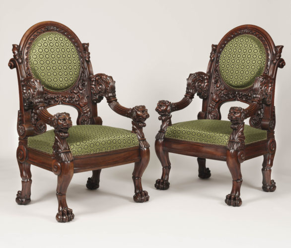 A Pair of Carved Mahogany Library Armchairs stamped Veuve Meunier of Paris