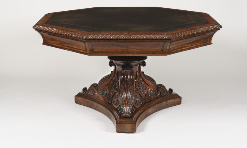 Carved Mahogany Library Table of the George IV Period