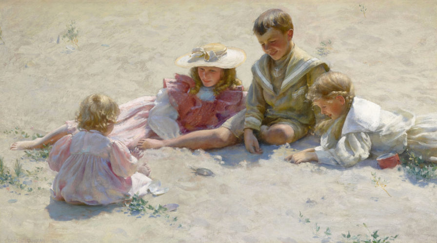 "CHARLES COURTNEY CURRAN, NA (American, 1861-1942) ""Children on the sand"" Signed and dated, lower left: CHAS. C. CURRAN/1896; inscribed on the stretcher: Children on the sand/Chas C. Curran/16W 61st Street, NY City Oil on canvas 18¼ x 32 in – 46.4 x 81.3 cm Framed size 26¼ x 40¼ in – 66.7 x 102.2 cm Provenance: Private collection; Private collection (bequeathed from the above, her father, circa 1950); Private collection, New England (by descent through the family from the above); Private collection, UK; Private collection, USA by 2004"