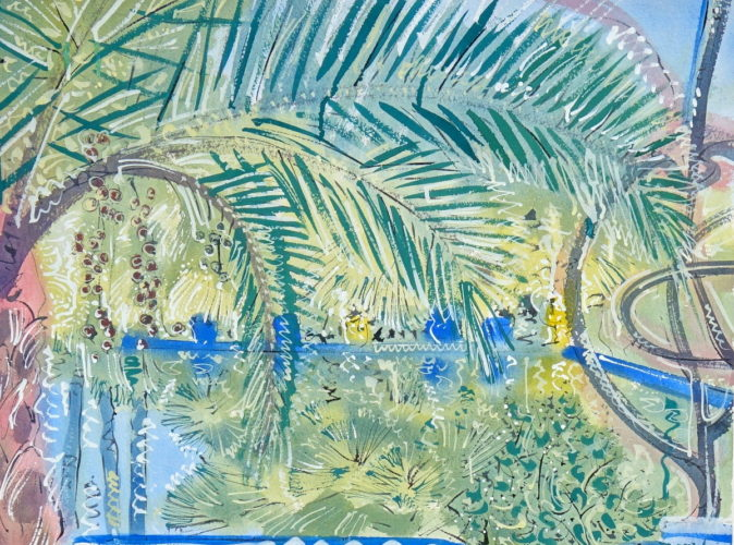 Alan Halliday - 'Date Palm, Jardin Majorelle' Gouache on paper 22