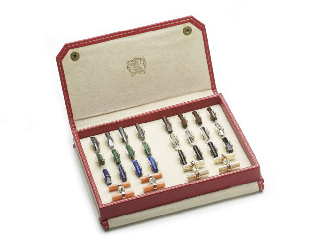 Cartier Cufflink Set, with Multiple Gemstone Batons, Circa 1960