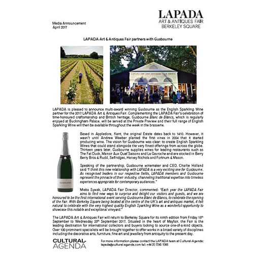 Press Release - LAPADA Fair partners with Gusbourne