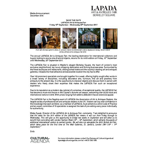 Press Release - LAPADA Fair 2017: Save the Date