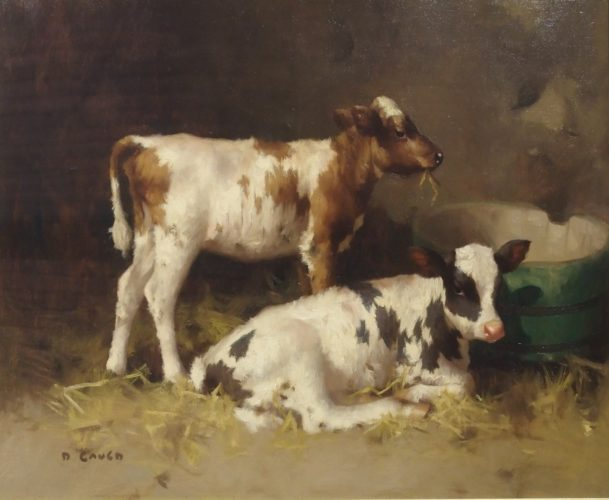 David Gauld, Ayreshire Calves by a Water Butt, Oil on Canvas, 24 x 30 inches