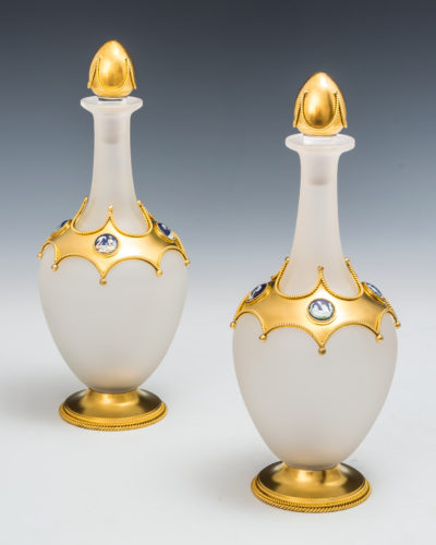 An exceptional pair of opaque glass ormolu mounted decanters by Leuchars English, Circa 1880 w 11.5 x h 29cm
