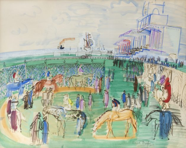 "Raoul Dufy 1877 - 1953 ""Paddock à Nice"" Nationality: French Paper size: 19"" by 25"" Gouache, watercolor and wash on paper, signed. Painted 1927"