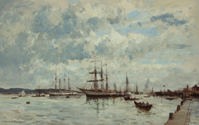 EDWARD BRIAN SEAGO RBA ARWS RWS 1910 – 1974 The Barquentine Gazela at Bel Ma, Portugal Oil on canvas, signed 20 x 30 in.