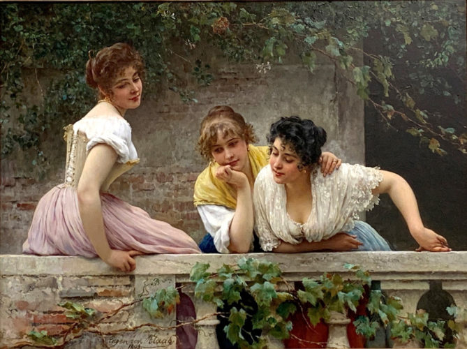 "EUGEN VON BLAAS (Austrian, 1843-1932) ""On the Balcony"" Signed and dated, lower left: Eugen von Blaas/1893. Oil on canvas 23 x 31½ in – 58.4 x 80 cm Framed size 32 x 40 in – 81.3 x 101.5 cm Provenance: Private collection, Austria; MacConnal-Mason Gallery, London, 2015; Private collection, UK Exhibited: Kunstlerhaus Wien, 1898, No.1314"