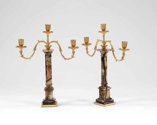 Early 19th century pair of Blue John candelabra
