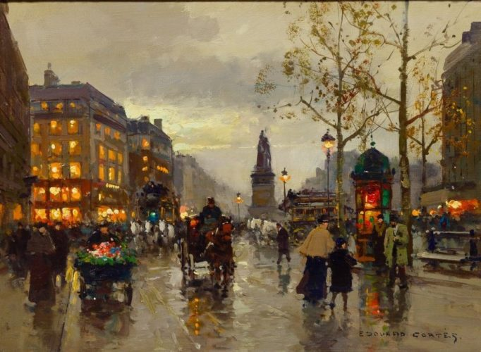 Edourd Leon Cortes. Place de la Republique, Oil on Canvas, 13 x 18 inches, Signed