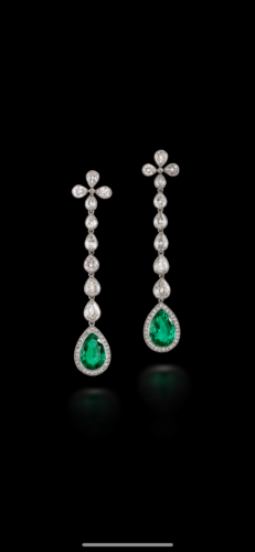 Edwardian emerald and diamond earrings