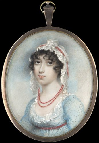 A fine portrait miniature of Miss Burgh by Andrew Plimer