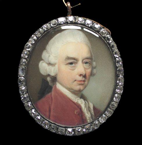 A strong portrait miniature of a Gentleman by Jeremiah Meyer