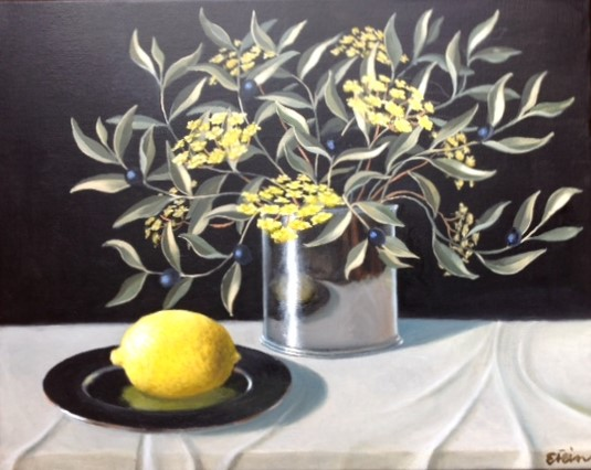 'Lemon and Olives' by Eleanor Fein Oil on canvas 46 x 38 cm