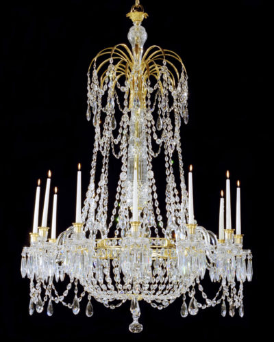 AN EXTREMELY RARE ENGLISH REGENCY PERIOD CHANDELIER OF UNUSUAL DESIGN