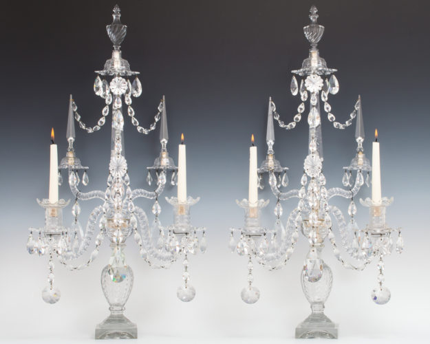 A SUPERB PAIR OF GEORGE III PERIOD CUT GLASS CANDELABRA BY WILLIAM PARKER