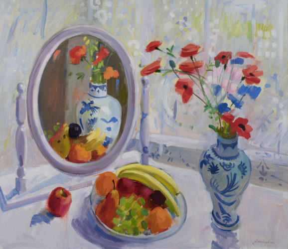 John Cunningham RGI 'Blue Vase and Fruit' Oil on canvas 26
