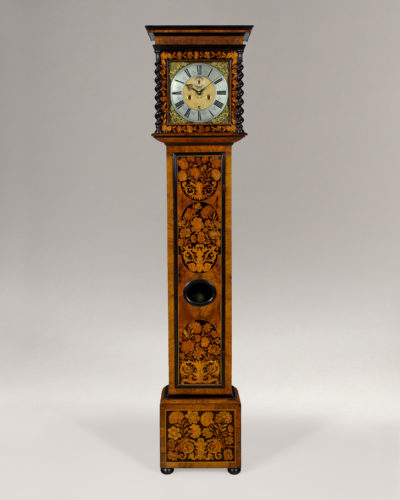 A fine late 17th century marquetry longcase clock with 11 inch brass dial , by Robert Dingley, London. Date: circa 1690.